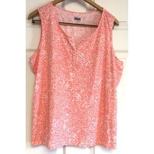 Basic Editions Coral Floral Tank Sleeveless Top